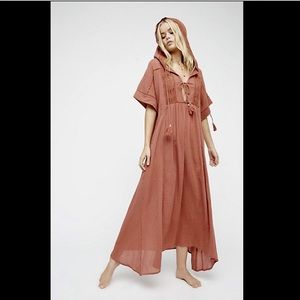 Free People clay Lace Ties Hood Oversize Dress S